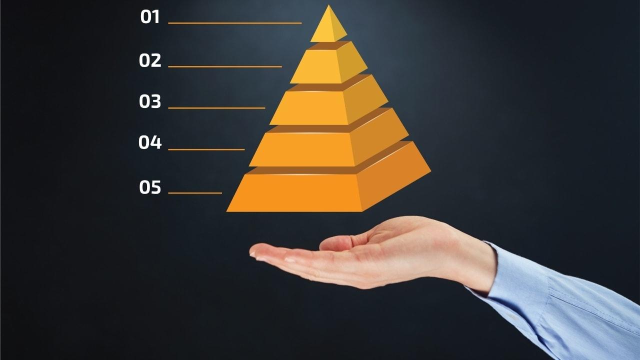 手にピラミッドを乗せている画像