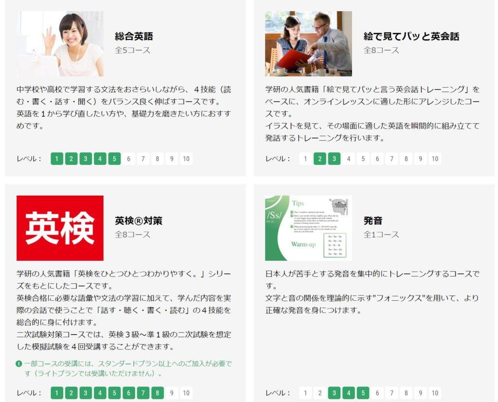 Kimini英会話のレベルや目的別のコース